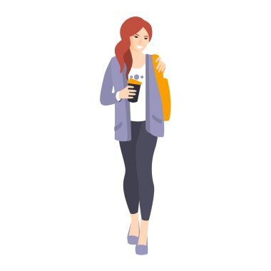 Girl In Leggings And Jacket With Coffee Paper Cup Part Of The Collection Of Young Professional People Office Style And Street Fashion Looks