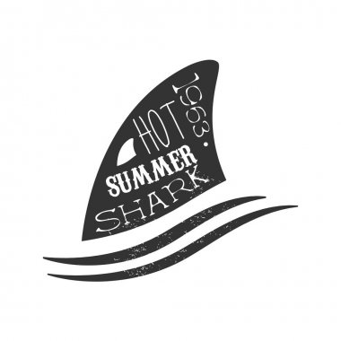 Shark Fin Above The Wave Summer Surf Club Black And White Stamp With Dangerous Animal Silhouette Template