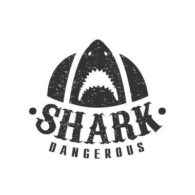 Shark With Open Mouth And Sharp Teeth Summer Surf Club Black And White Stamp With Dangerous Animal Silhouette Template