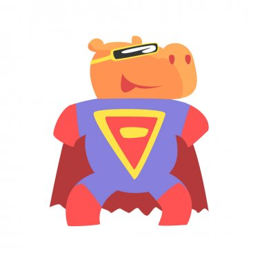 Hippo Smiling Animal Dressed As Superhero With A Cape Comic Masked Vigilante Geometric Character