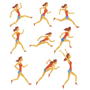 Female Sportswoman Running The Track With Obstacles And Hurdles In Red Top And Blue Short In Racing Competition Set Of Illustrations.