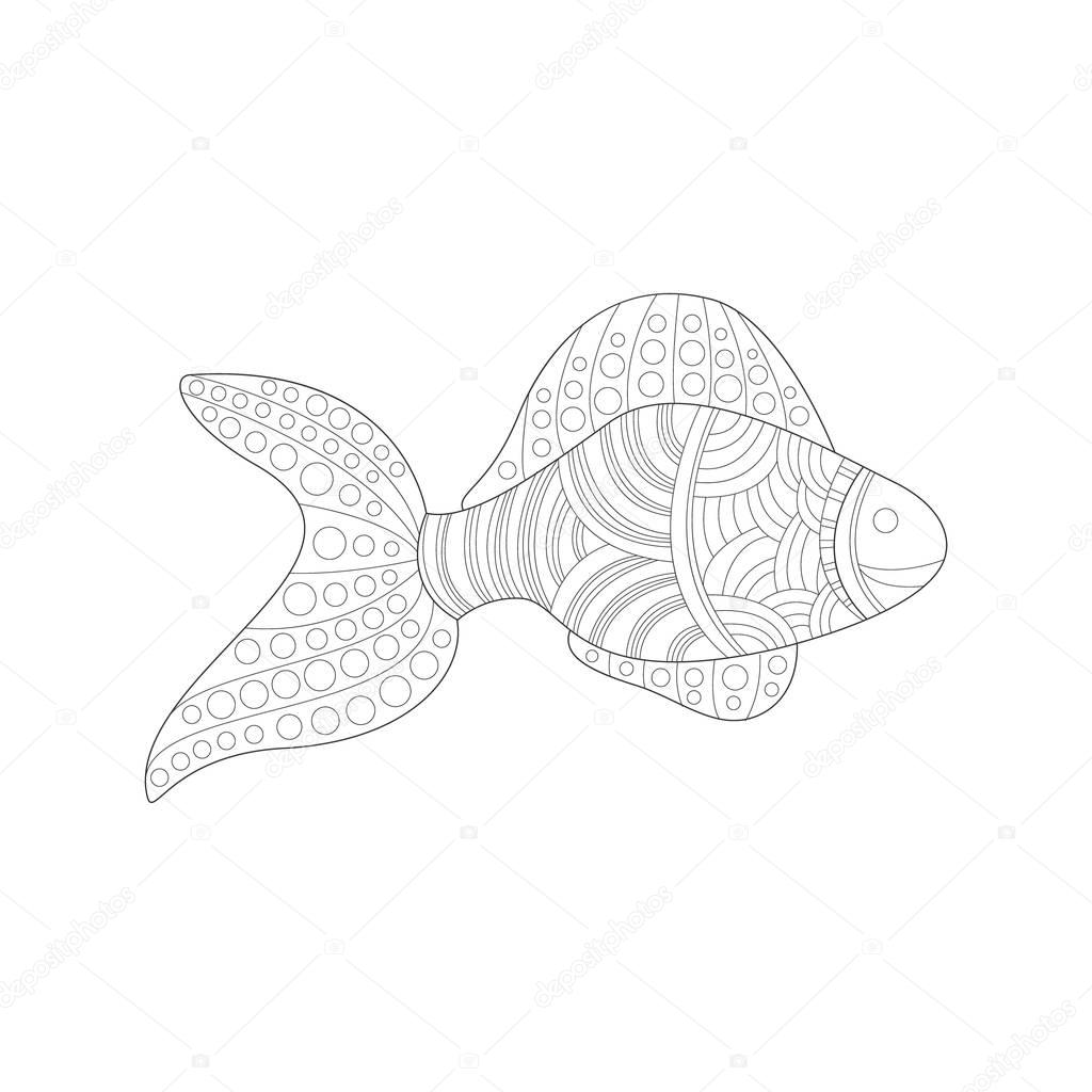 Tropical Fish Sea Underwater Nature Adult Black And White Zentangle Coloring Book Illustration