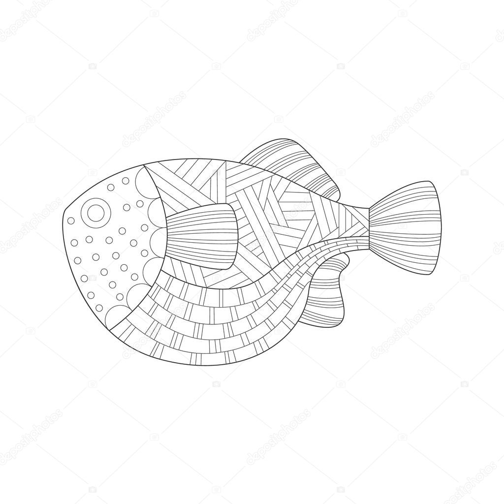 Large Tropical Fish Sea Underwater Nature Adult Black And White Zentangle Coloring Book Illustration