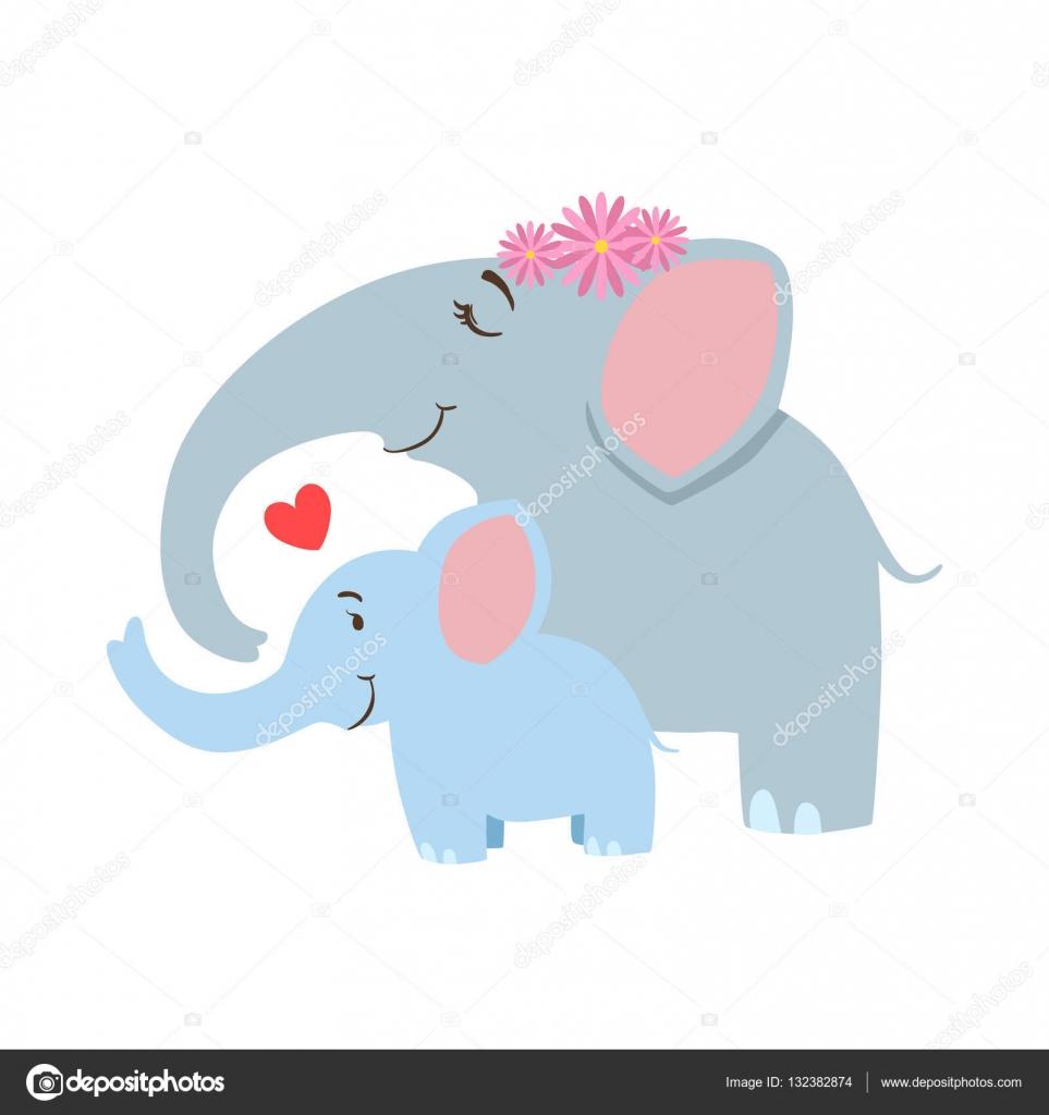 Illustrazione: elefante con corona. mamma elefante con frower corona