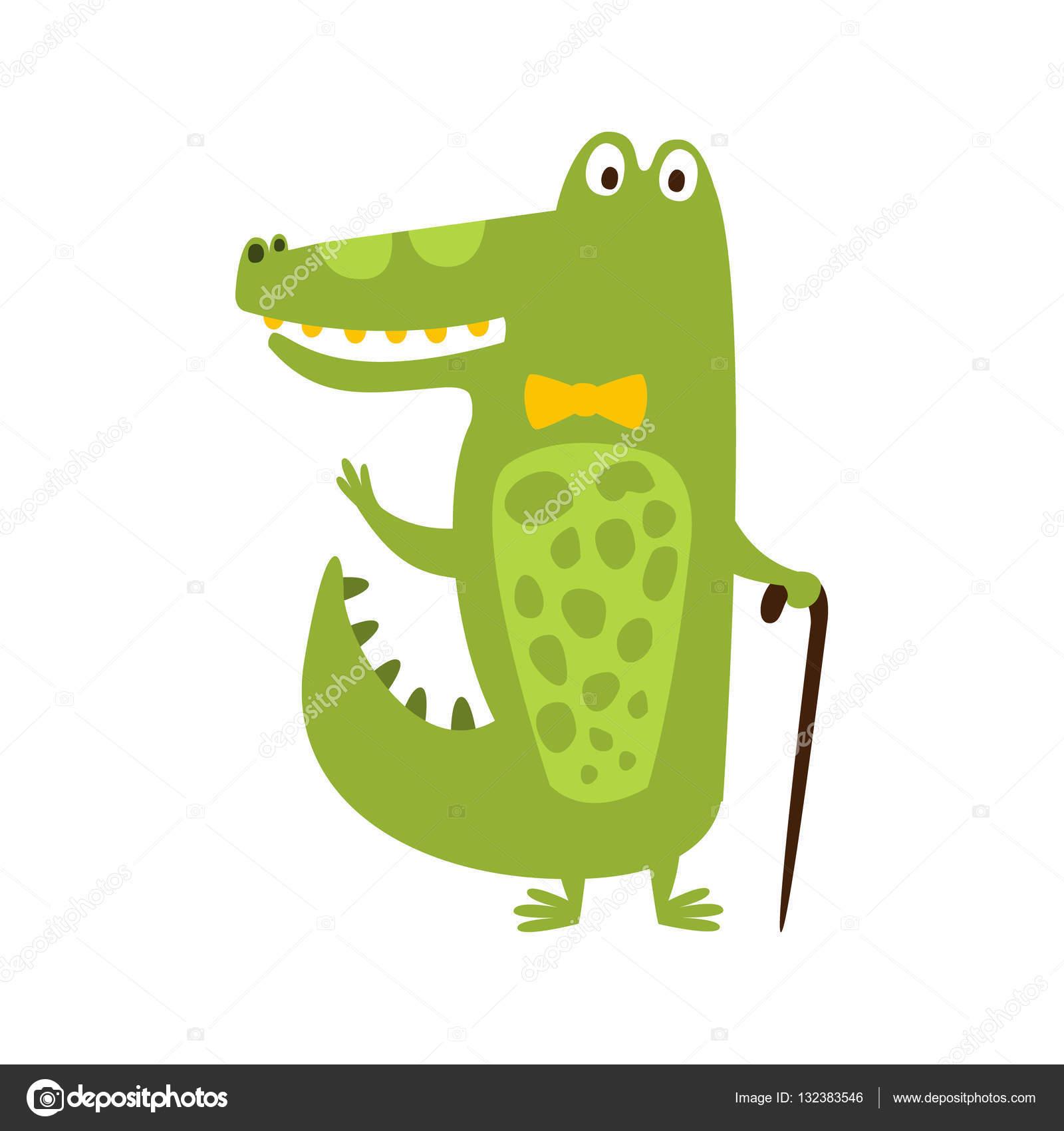 aaad669b7460 クロコダイルの蝶ネクタイと杖フラット漫画緑友好的な爬虫類の動物文字描画– ストックイラスト