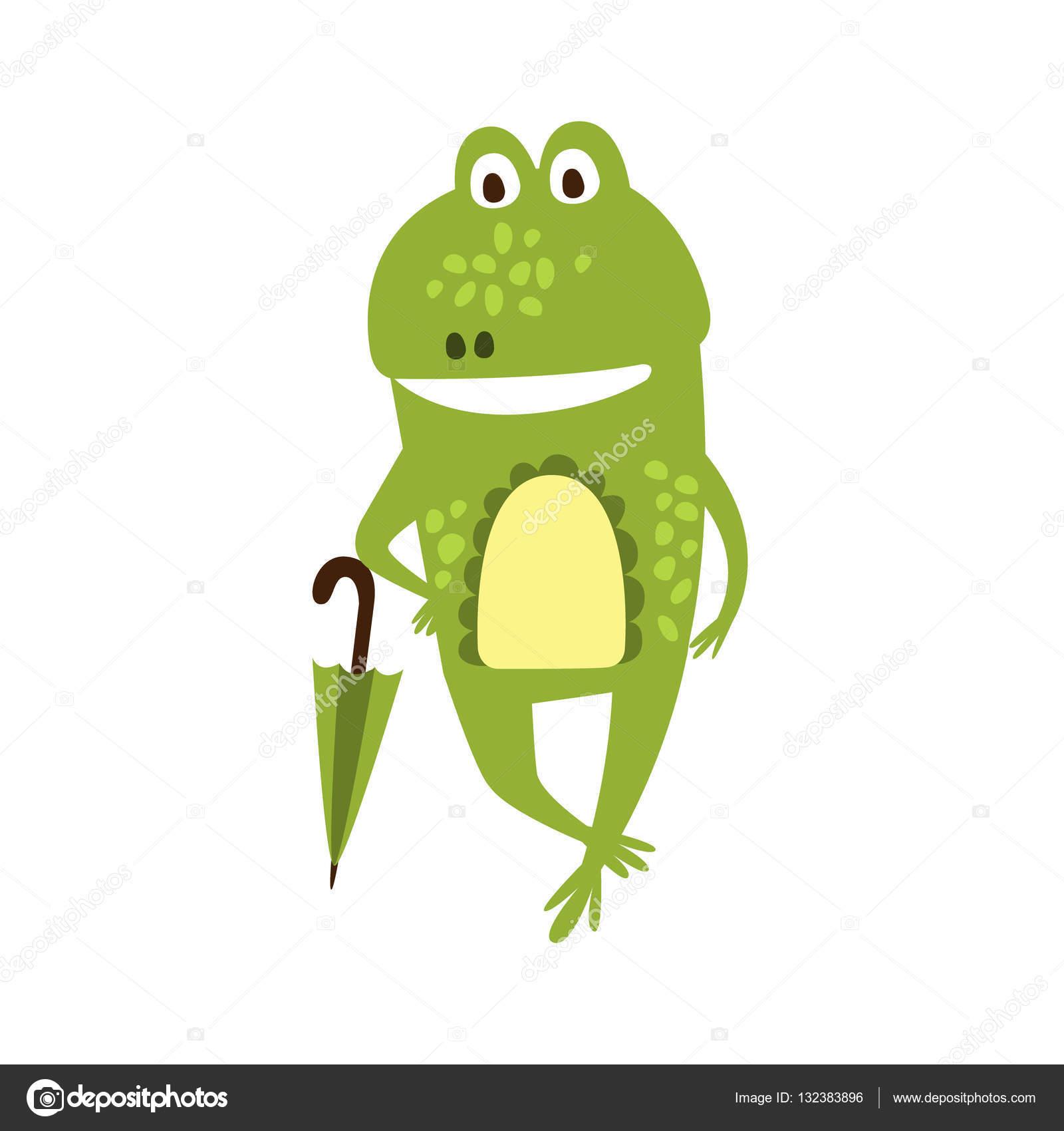 frog with umbrella flat cartoon green friendly reptile animal