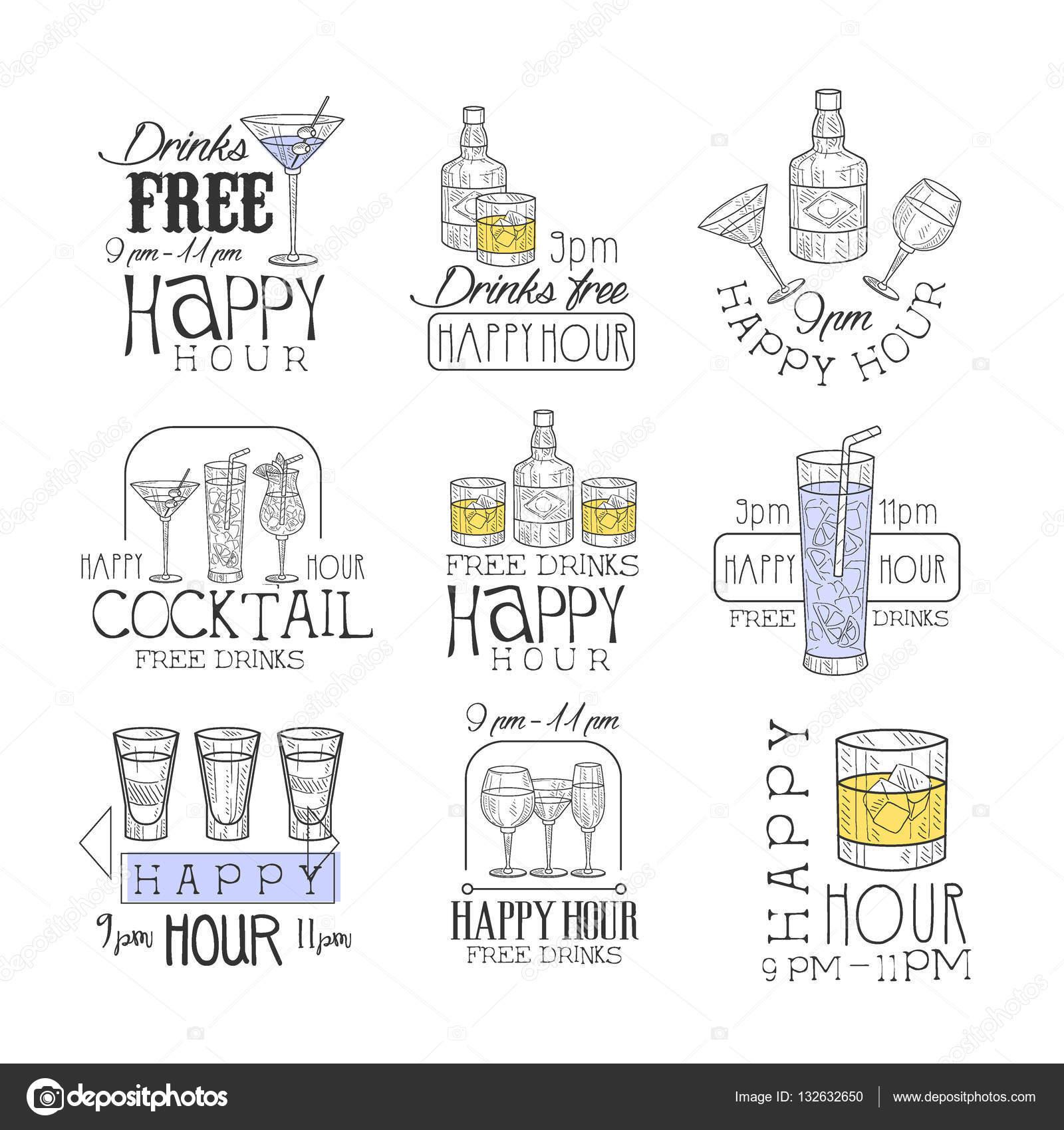 Cocktail Bar Happy Hour Promotion anmelden Design Vorlagensatz von ...