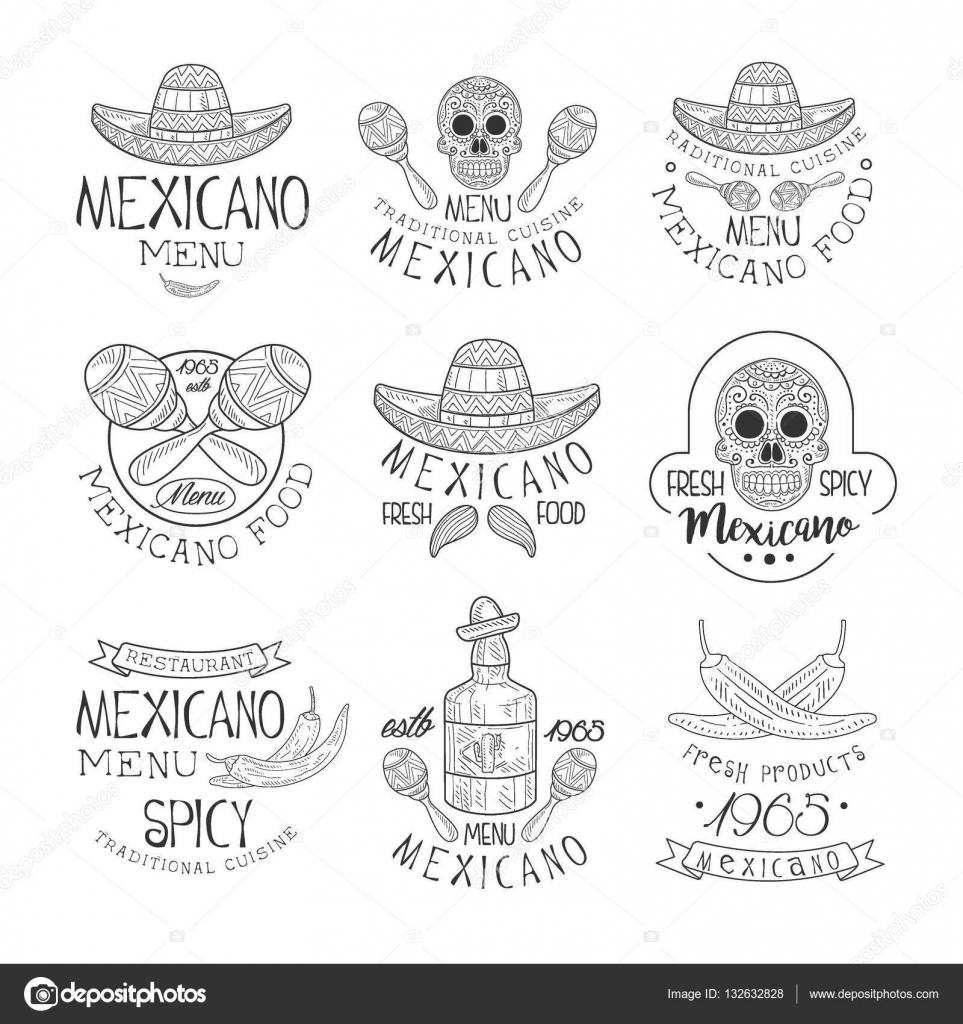 Tradicional cocina mexicana restaurante dibujado a mano blanco y ...