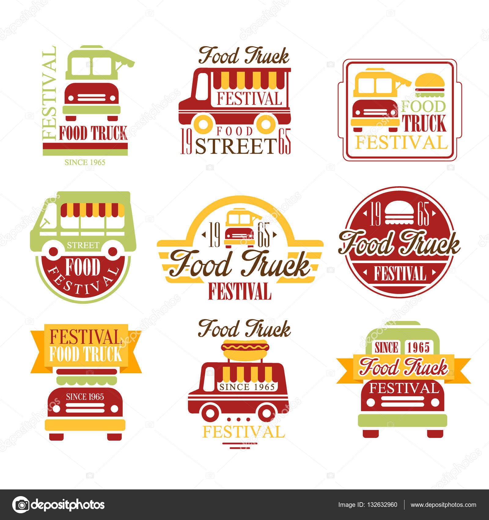 Food Truck Cafe Street Food Promo Signs Set Of Colorful Vector