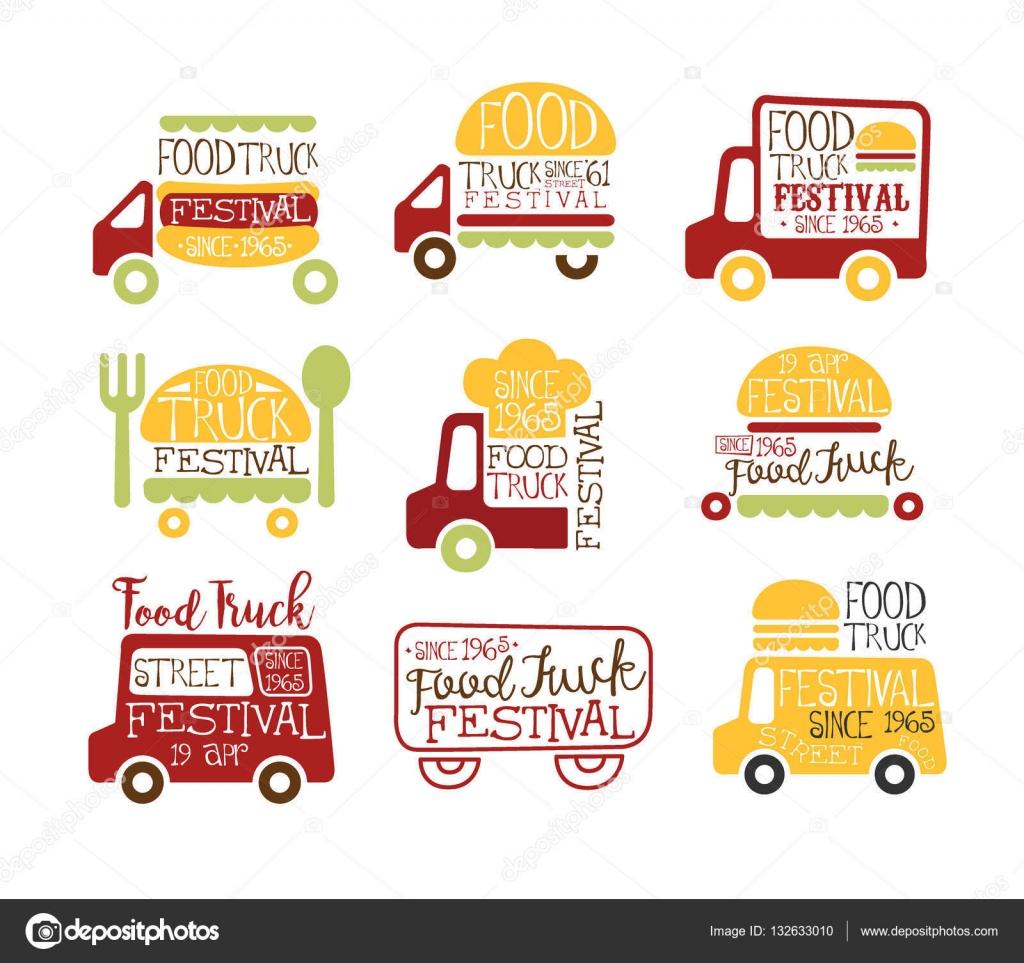 Lebensmittel Truck Street Cafe Essen Promo Zeichen Sammlung von ...