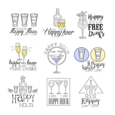 Cocktail Bar Happy Hour Promotion Sign Design Template Collection Of Hand Drawn Hipster Sketches With Different Drinks And Glasses