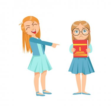 Girl Mocking Clever Kid In Glasses Teenage Bully Demonstrating Mischievous Uncontrollable Delinquent Behavior Cartoon Illustration