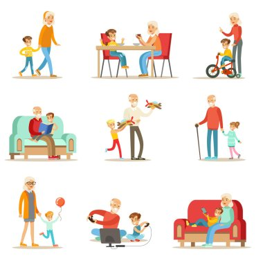Grandfather And Grandmother Spending Time Playing With Grandchildren, Small Boys And Girls With Their Grandparents Set Of Collection