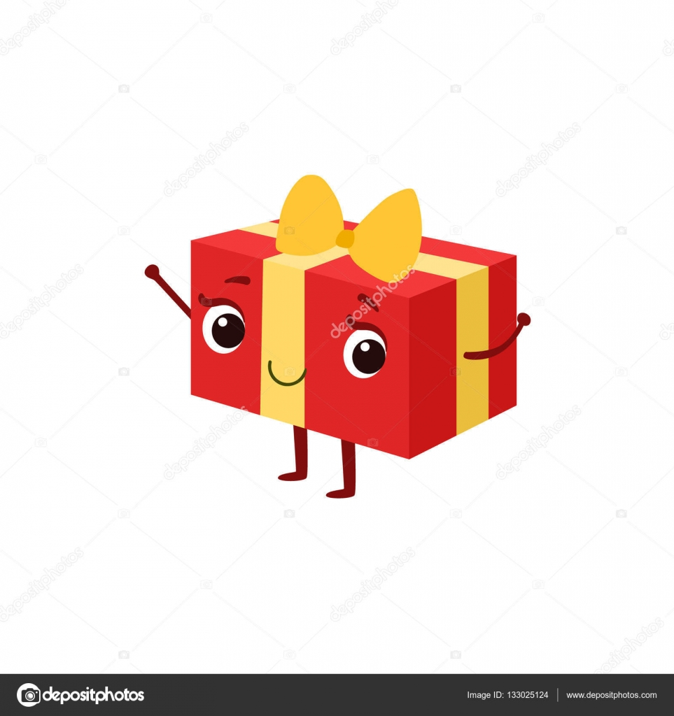 Square gift box with yellow bow kids birthday party happy smiling square gift box with yellow bow kids birthday party happy smiling animated object cartoon girly character negle Image collections