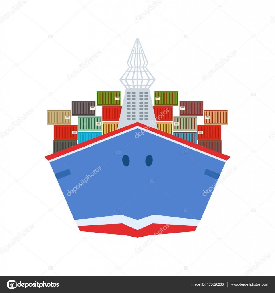1a7736fad717c Sevk irsaliyesi Yurtdışı görünümü ön taraftan teslim teslimat hizmeti  şirketi büyük kargo gemisi — Stok Vektör