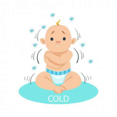 Little Baby Boy In Nappy Shivering Of Cold, Part Of Reasons Of Infant Being Unhappy And Crying Cartoon Illustration Collection