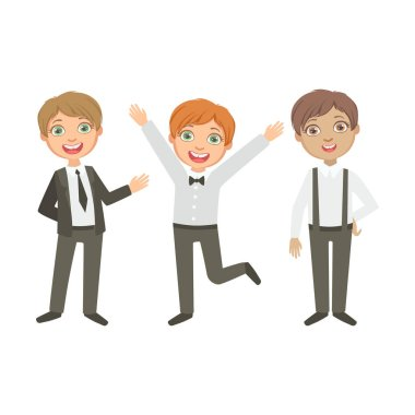 Boys In Black And White Outfits Happy Schoolkids In Similar Collection School Uniforms Standing And Smiling Cartoon Character