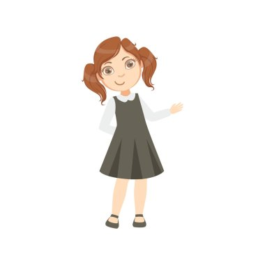 Girl In Black Dress Happy Schoolkid In School Uniform Standing And Smiling Cartoon Character
