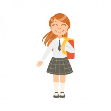 Girl In Black Checkered Skirt And Tie Happy Schoolkid In School Uniform Standing And Smiling Cartoon Character