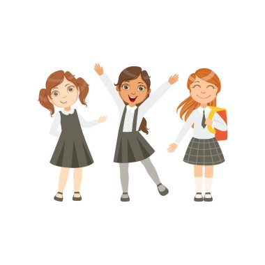 Girls In Black And White Outfits Happy Schoolkids In Similar Collection School Uniforms Standing And Smiling Cartoon Character