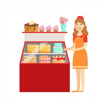 Woman Selling Cakes And Bakery, Shopping Mall And Department Store Section Illustration