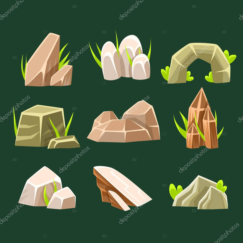 Natural Brow Rocks Of Different Shape Collection Of Landscape Design Elements For Flash Game