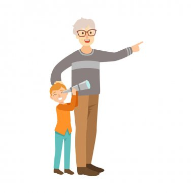 Grandfather And Grandson Looking Through Telescope, Part Of Grandparent And Grandchild Passing Time Together Set Of Illustrations