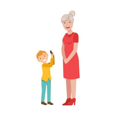 Grandson Showing Smartphone To Grandmother, Part Of Grandparent And Grandchild Passing Time Together Set Of Illustrations