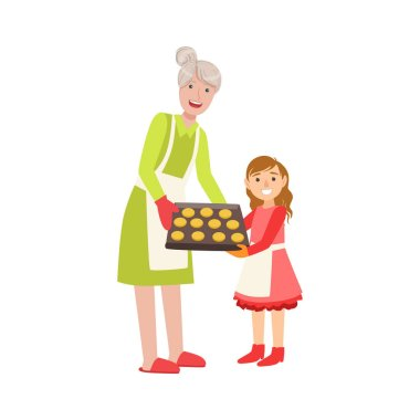 Grandmother And Granddaughter Baking Cookies, Part Of Grandparent And Grandchild Passing Time Together Set Of Illustrations