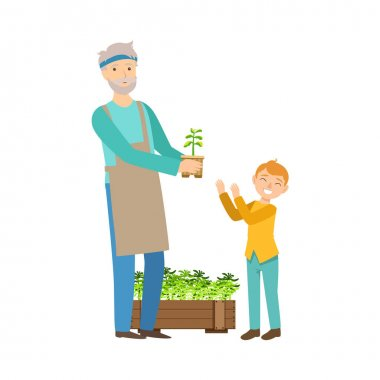Grandfather And Grandson Gardening, Part Of Grandparent And Grandchild Passing Time Together Set Of Illustrations