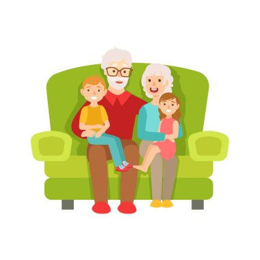 Grandparents And Grandchildren Sitting On The Sofa, Part Of Grandparent And Grandchild Passing Time Together Set Of Illustrations