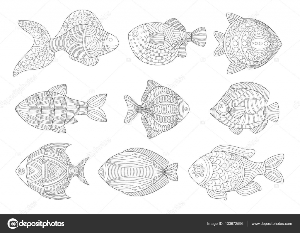 tropical fish set adult zentangle coloring book illustration stock vector 133672596 - Zentangle Coloring Book