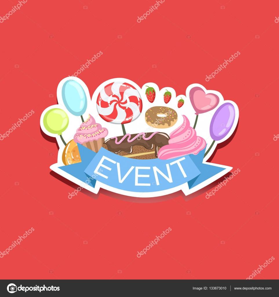 Evento plantilla Linda etiqueta con dulces — Archivo Imágenes ...