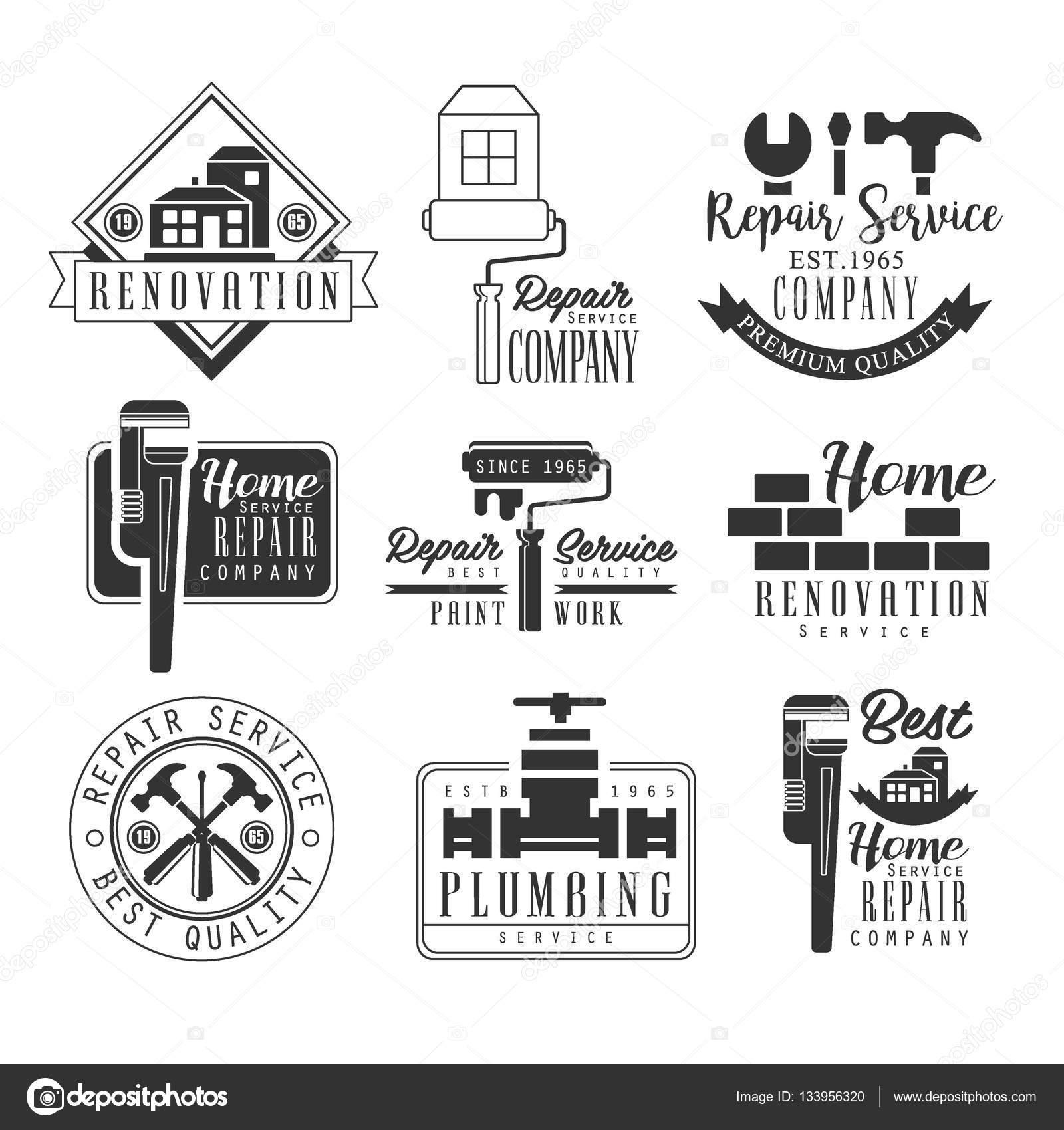 Sanitär- und Reparatur-Service schwarz-weiß Sign Design-Vorlagen mit ...