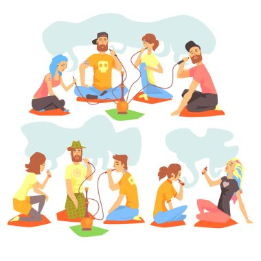 Young Cool People Smoking Hookah And Electronic Cigarettes Sitting On The Floor Set Of Illustration With Smokers And Vapers