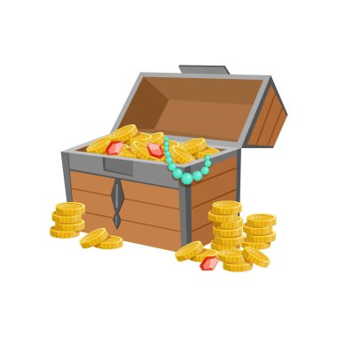 Half Open Pirate Chest With Golden Coins And Jewelry, Hidden Treasure And Riches For Reward In Flash Came Design Variation