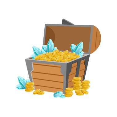 Half Open Pirate Chest WIth Golden Coins And Blue Crystal Gems, Hidden Treasure And Riches For Reward In Flash Came Design Variation