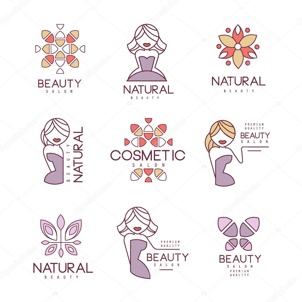 Natural Beauty Salon Set Of Hand Drawn Cartoon Outlined Sign Design Templates With Female Character And Logo Drawings