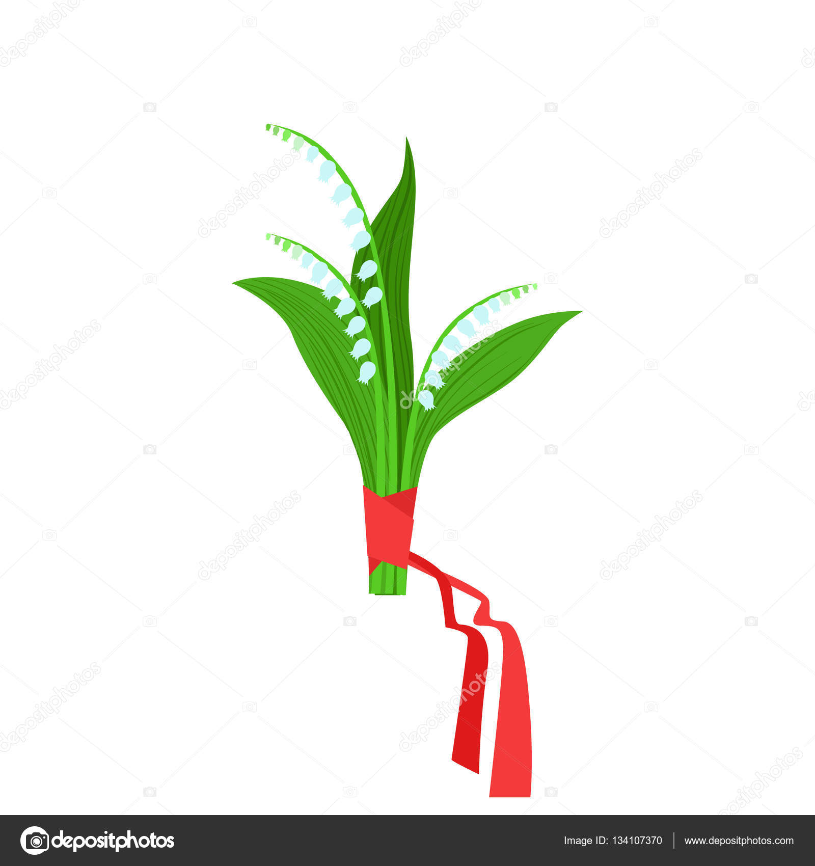 Lily of the valley flower bouquet tied with red ribbon flower shop lily of the valley flower bouquet tied with red ribbon flower shop decorative plants assortment item cartoon vector illustration izmirmasajfo