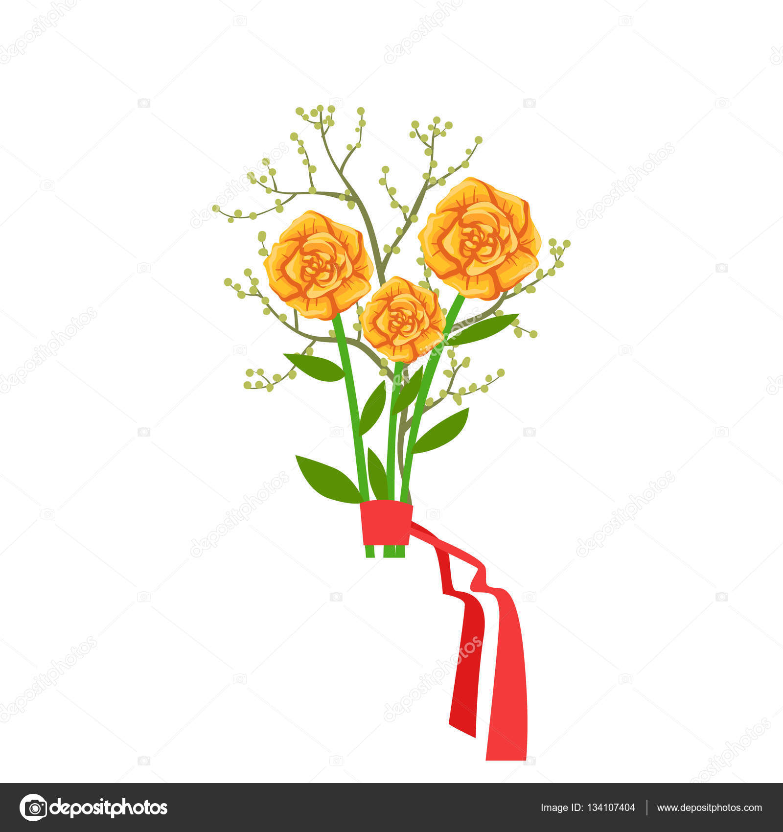Orange Roses Flower Bouquet Tied With Red Ribbon, Flower Shop ...