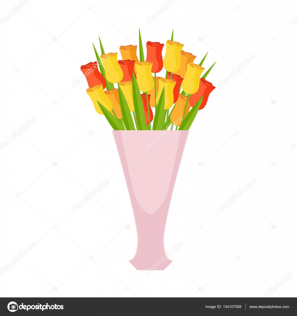 Tulips Flower Bouquet In Tall Flower Vase, Flower Shop Decorative ...