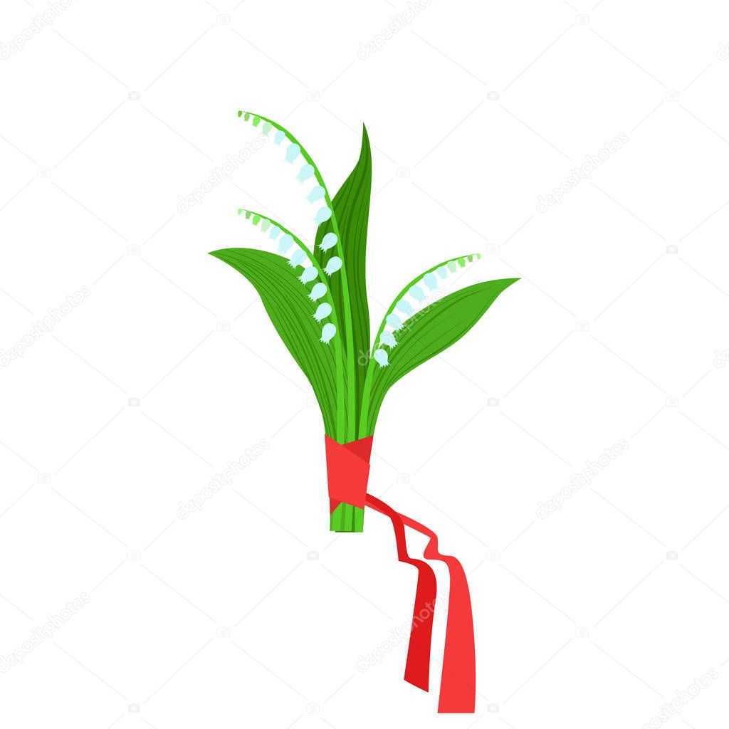 Lily Of The Valley Flower Bouquet Tied With Red Ribbon, Flower Shop Decorative Plants Assortment Item Cartoon Vector Illustration