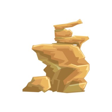 Yellow Desert Sandstone Natural Landscape Design Element, Part Of Scenery In Nature Landscaping Constructor
