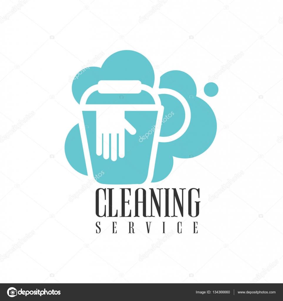 Haus und Büro Reinigungs-Service mieten Logo Vorlage mit Eimer und ...