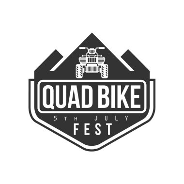 Quad Bike Festival Label Design Black And White Template With Text For Quadricycle Rental Business