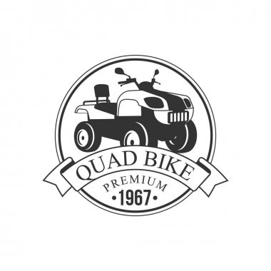 Quad Bike Premium Label Design Black And White Template With Text For Quadricycle Rental Business