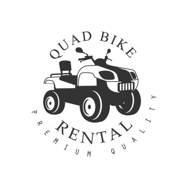 Renting Premium Quality Quad Bike Label Design Black And White Template With Text For Quadricycle Rental Business