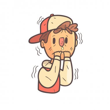 Shaking With Fear Boy In Cap And College Jacket Hand Drawn Emoji Cool Outlined Portrait