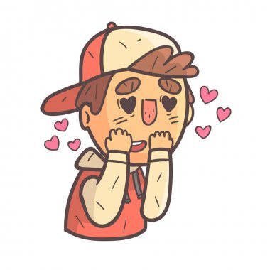 Madly In Love Boy In Cap And College Jacket Hand Drawn Emoji Cool Outlined Portrait