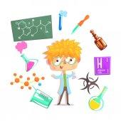 Fotografia Ragazzo chimico, bambini futuro sogno illustrazione di occupazione professionale con relative agli oggetti di professione
